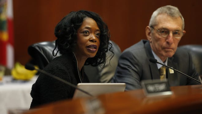 Marva Johnson,chair of the State Board of Education, speaks during a Florida Department of Education board meeting at the Capitol on Wednesday.