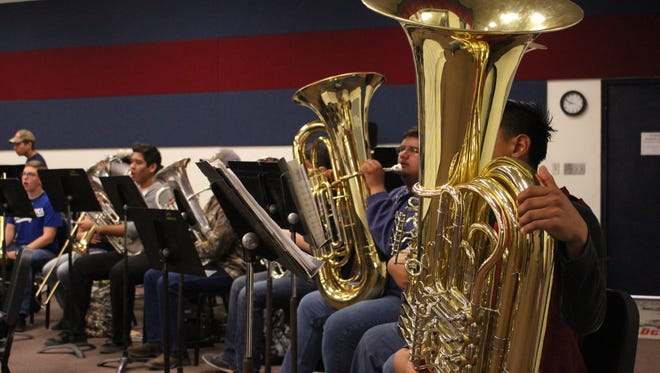 The Deming High Band rehearses Tuesday morning in preparation for the Music in Our Schools Concert at 7 p.m., Friday in the DHS Gymnasium. Admission is free and the public is invited.