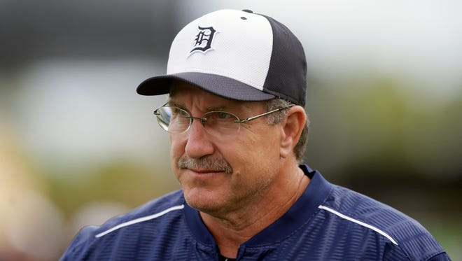 Detroit Tigers minor league coach Lance Parrish at a spring training game against the Toronto Blue Jays in Lakeland, Fla., Monday, March 9, 2015.