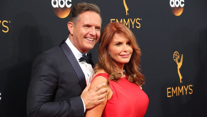 Mark Burnett and Roma Roma Downey at the Emmy Awards in Los Angeles on Sept. 18, 2016.