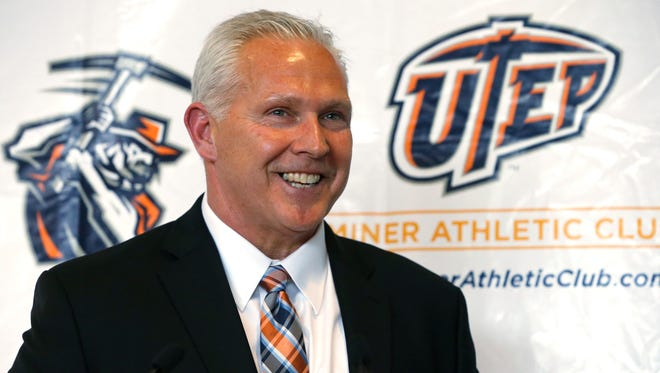 UTEP head football coach Dana Dimel is all smiles Wednesday as he announces his first recruiting class after taking over the program in early December. Dimel had a total of 27 signees: six transfers already on campus, 19 high school athletes and two junior college transfers.