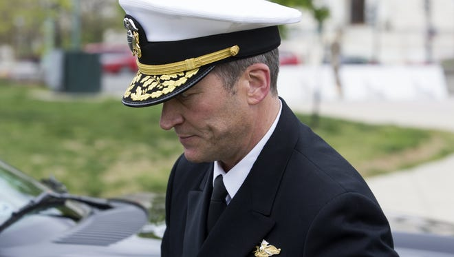 Navy Rear Adm. Ronny Jackson, President Trump's nominee to be secretary of Veteran Affairs, walks on Capitol Hill following a meeting in the office of Sen. Jerry Moran, R-Kansas, on April 24, 2018.