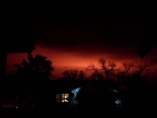 A natural gas line explosion near Refugio happened around 12:30 a.m. Wednesday, Feb. 15, 2017. This photo was taken from a home in Rockport at 12:30 a.m.