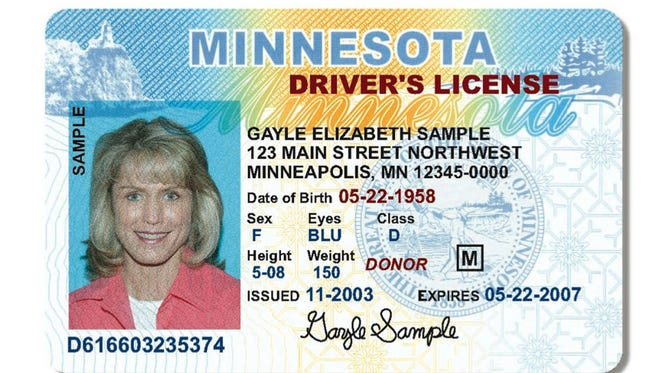 This sample driver's license was provided by the Minnesota Department of Public Safety in 2004.