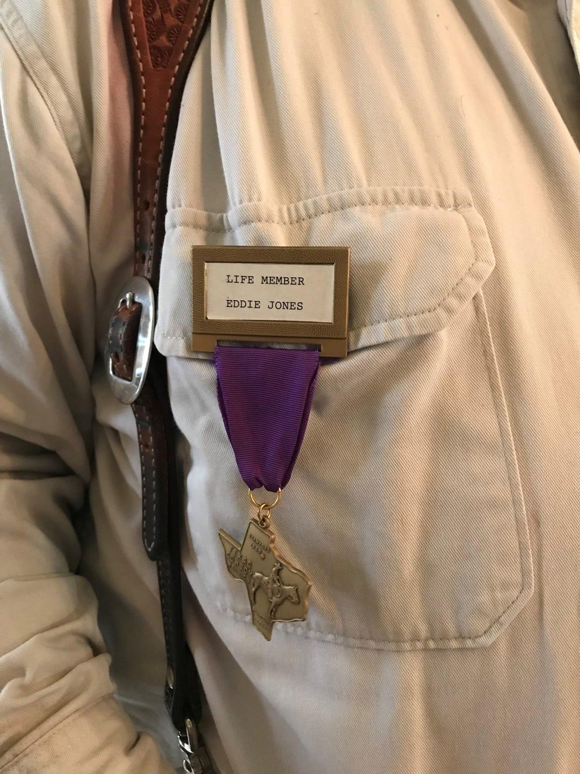 Eddie Jones of the Texas Cowboy Reunion Old Timers wears his membership badge.