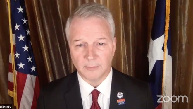 Texas Republican Party Chairman James Dickey presides over a virtual meeting at which the State Republican Executive Committee voted to move the party's convention later this week on-line.