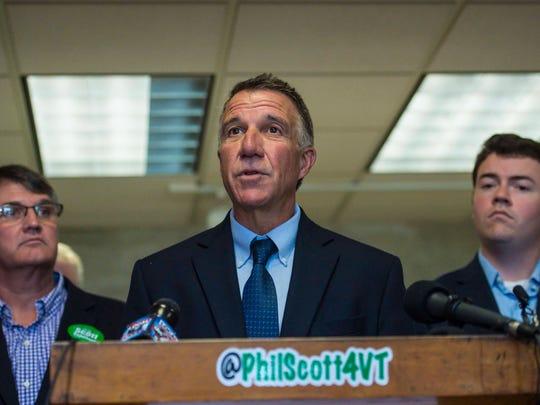 Republican gubernatorial candidate Lt. Gov. Phil Scott speaks at a news conference in Colchester on Thursday, Sept. 15, 2016.