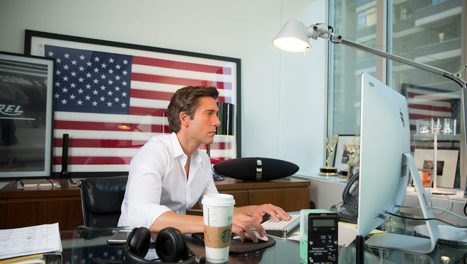 David Muir, the anchor of ABC World News Tonight, works in his office in New York City on Sept. 17, 2015.