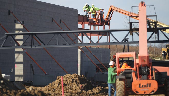 Construction continues on Solon's new middle school on Tuesday, Nov. 10, 2015.
