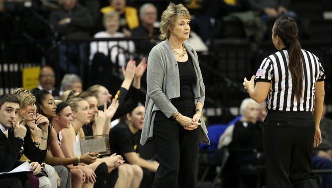 Iowa head coach Lisa Bluder questions a call during the Hawkeyes' game against Penn State at Carver-Hawkeye Arena on Wednesday, Jan. 20, 2016.