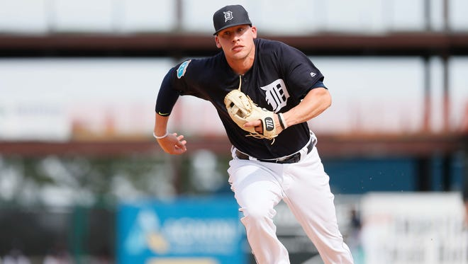 Detroit Tigers infielder JaCoby Jones runs to cover third base during an exhibition against Florida Southern on Feb. 29, 2016.
