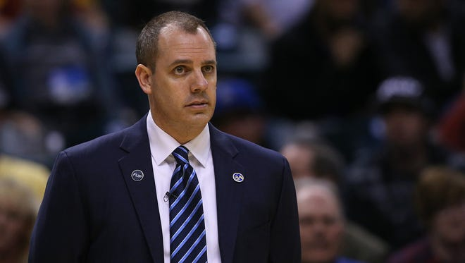 Indiana Pacers head coach Frank Vogel in the second half of the game at Bankers Life Fieldhouse, Indianapolis, Wednesday, April 6, 2016. The Pacers won, 123-109.