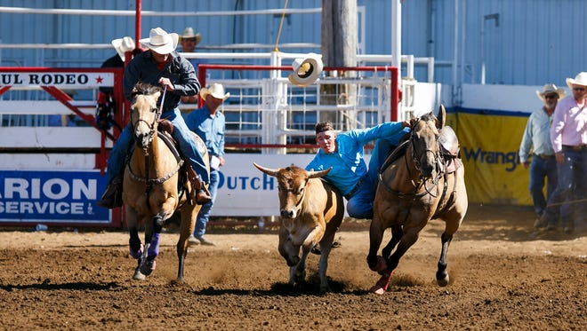 Dalton Massey of Hermiston competes in steer wrestling at last year's St. Paul rodeo. This year's event is June 30-July 4.