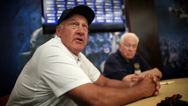 Michigan defensive line coach Greg Mattison speaks to reporters during U-M football media day on Sunday, August 7, 2016, at Michigan Stadium in Ann Arbor.