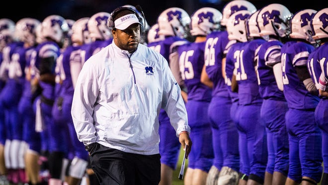 Coach Adam Morris during Central's game against Anderson Friday, Oct. 28, 2016.