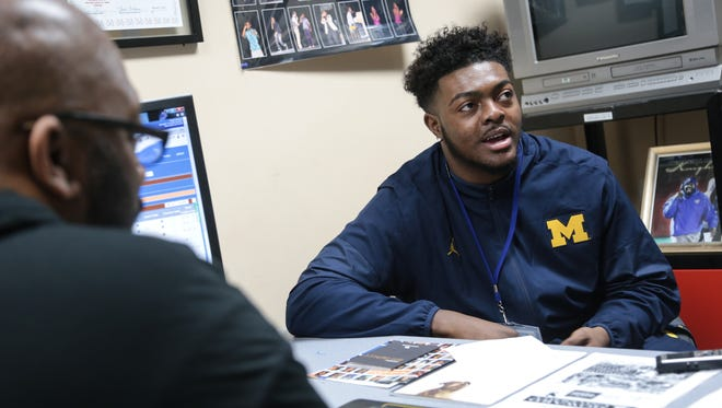 Deron Irving-Bey is listed at 6-feet-5 and 245 pounds. He's ranked by rivals.com as the No. 11 prospect in Michigan. He also reportedly had scholarship offers from Michigan State and Tennessee, among others.