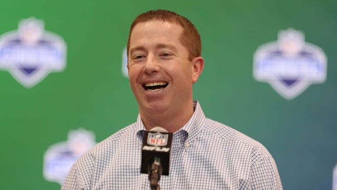 Detroit Lions general manager Bob Quinn speaks to the media March 1, 2017, in Indianapolis.