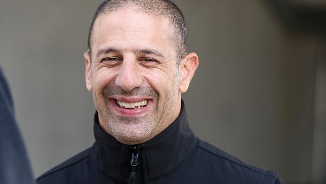 Tony Kanaan talks to media during a manufacturer testing session for Verizon IndyCar series drivers at Indianapolis Motor Speedway, Indianapolis, Friday, March 24, 2017.