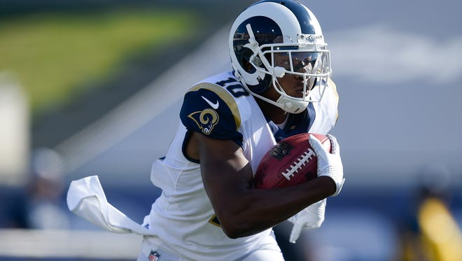 In just his second year, the Rams' Pharoh Cooper leads the NFL in kickoff return yardage with 747 and average per return at 28.7.