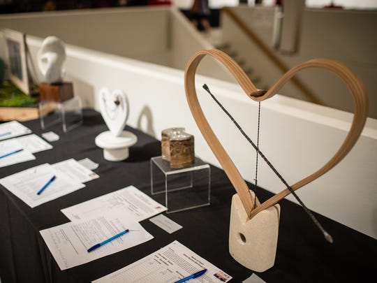 Works of Heart art pieces up for auction from a past event.