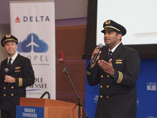 Ashish Naran, right, outreach manager for company and community programs, and Brent Knoblauch, pilot outreach for campus programs, shared Delta's vision for hiring great pilots and employees Aug. 31 during the Delta Propel launch in the MTSU Student Union Ballroom.
