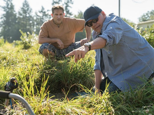 "Steve Carell and director Robert Zemeckis on the set of ""Welcome to Marwen."""