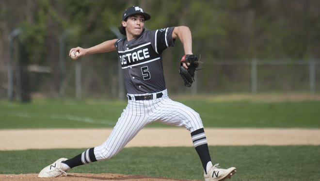 Bishop Eustace's Matt Orlando delivers a pitch during a game last season. Orlando has struck out 21 batters already this year.
