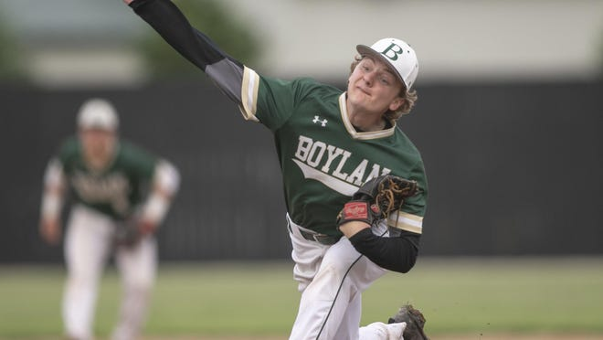 Boylan´s Jacob Sciame delivers a pitch on May 29, 2019, in DeKalb. Sciame is featured in this week's Senior Spotlight (During a Pandemic).