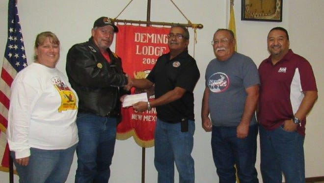The American Legion Riders, Post 4 Chapter 12 Veterans Support, received $250 from the Loyal Order of Moose 2088. These funds are generated from loyal members playing video games. Governor Manny Garcia and Administrator Jerry Rivera would like to thank its loyal members. Pictured, from left, are: Tobie and Bo Bechtel, Moose Administrator Rivera, Governor Garcia, and Junior Governor George Cobos.