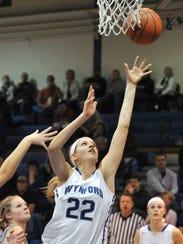 Wynford's Alyssa Harrer shoots the ball against Ridgedale