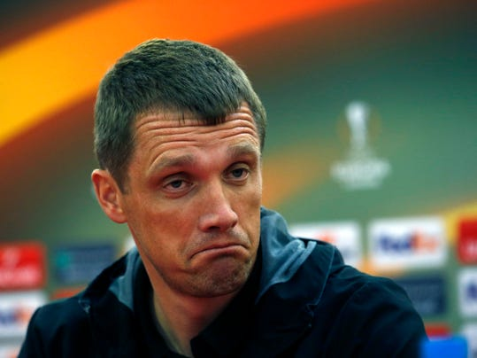 CSKA coach Viktor Goncharenko listens to a question during a press conference ahead of their Europa League soccer match against Red Star in Belgrade, Serbia, Monday, Feb. 12, 2018. CSKA Moscow will face Red Star on Tuesday Feb.13. (AP Photo/Darko Vojinovic)