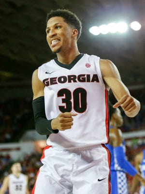 Georgia Bulldogs guard J.J. Frazier (30) reacts after a play against the Kentucky Wildcats in the second half at Stegeman Coliseum. Kentucky won 82-77.