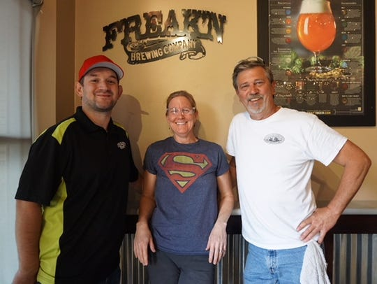 From left, Robert Hadac, Renee Hausman and Bill Nesbitt manage the routine weekly brewing process for Freak'n Brewery on Monday, Feb. 19, 2018.
