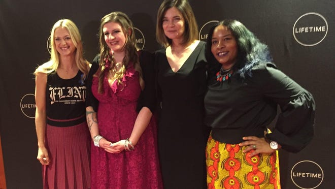 "Actress Marin Ireland, at left, with activist Melissa Mays, actress Betsy Brandt, and activist Nayyirah Shariff at the Oct. 21 screening of ""Flint."""
