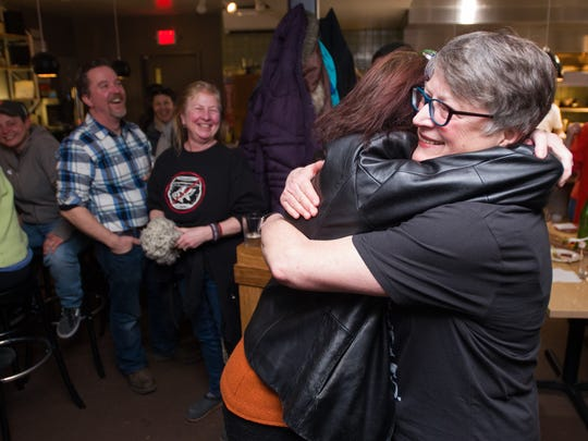 Progressive Jane Knodell celebrates her Burlington City Council race win over challenger Genese Grill with supporters at Butch & Babes Tuesday night, March 7, 2017.