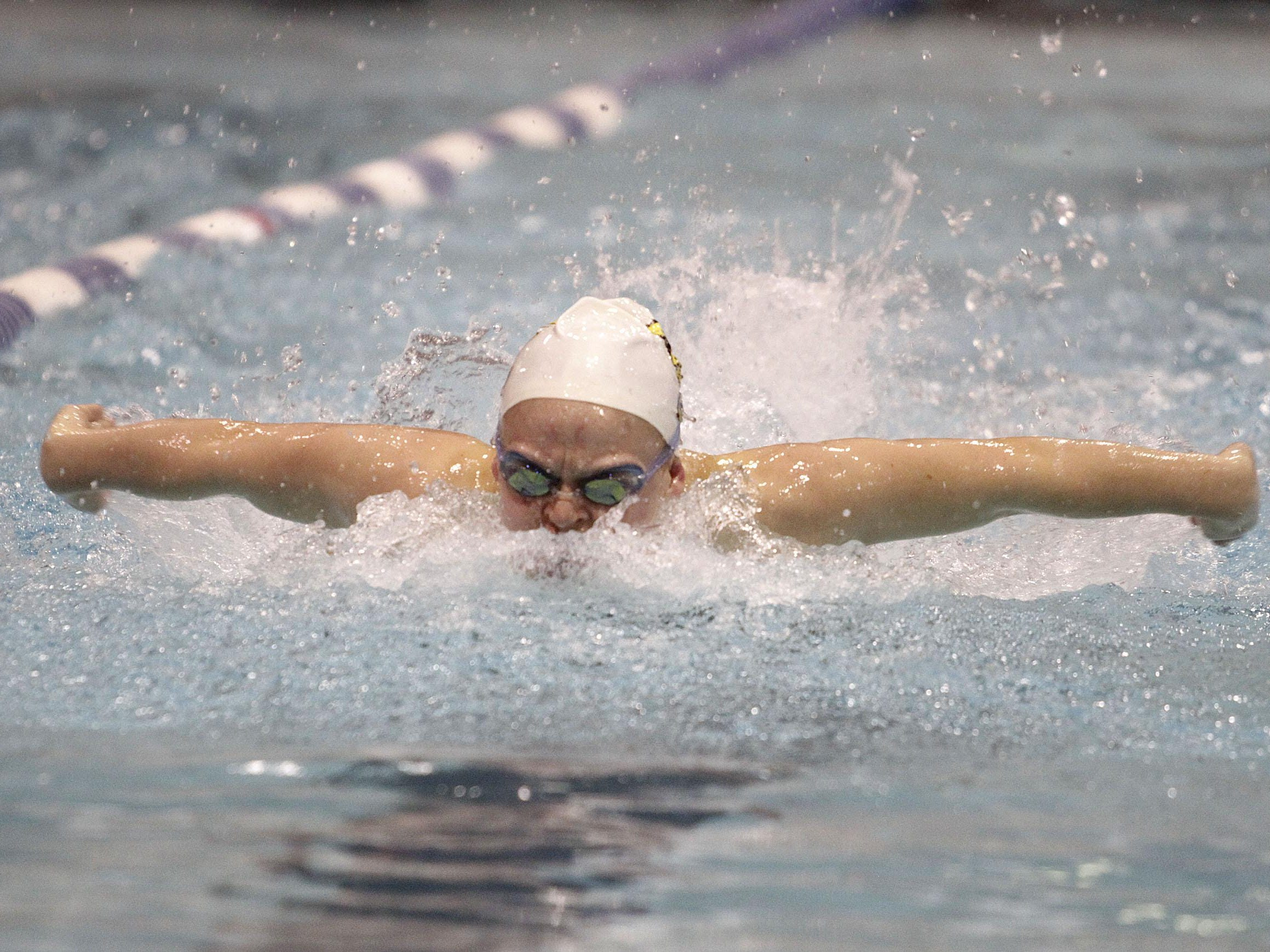 Isabelle Murray of Taylor swims an impressive 58.20 in the 100-yard butterfly at the sectional semifinals at St. Xavier last season.