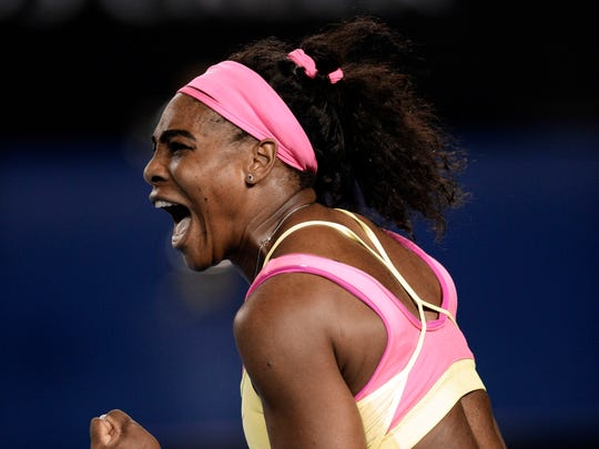 Serena Williams seen here at the Australian Open tennis championship in Melbourne, Australia, Saturday, Jan. 31, 2015, is in Indian Wells for the BNP Paribas Open.
