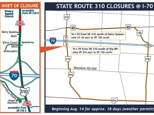 Ohio 310 To Be Closed At Interstate 70 For 18 Days