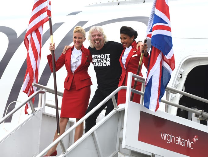 Sir Richard Branson arrives at Detroit Metropolitan