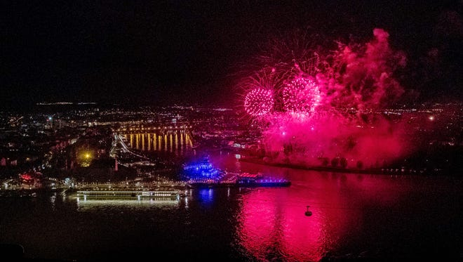 A fireworks celebration accompanied the christening of two Viking River Cruises ships in Koblenz, Germany on March 7, 2017.