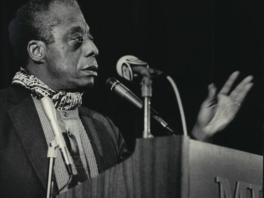 Author James Baldwin speaks at Marquette University's