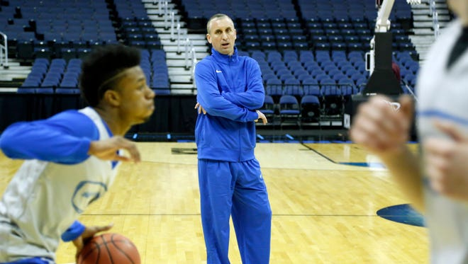 Bobby Hurley during practice before the 2015 NCAA Tournament at Nationwide Arena.