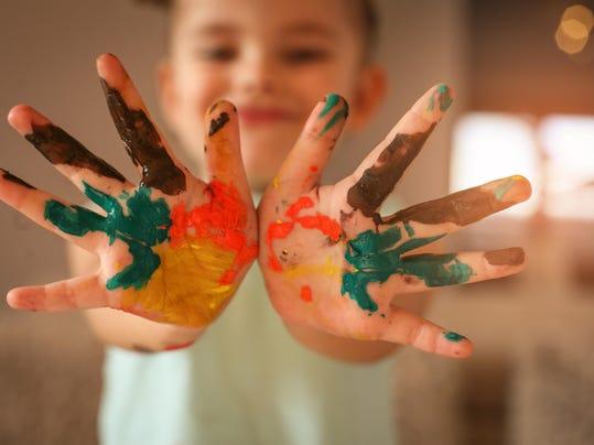 Paint hands.