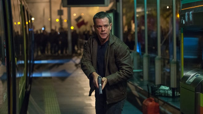 """Matt Damon appears in """"Jason Bourne."""" Moviegoers at some theaters sat through eight trailers for other films before this movie started."""