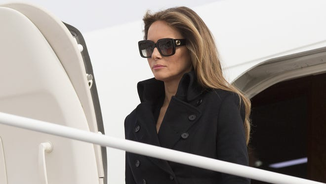 Melania Trump arrives at Joint Base Andrews the day before husband Donald Trump was sworn in, on Jan. 19, 2017.