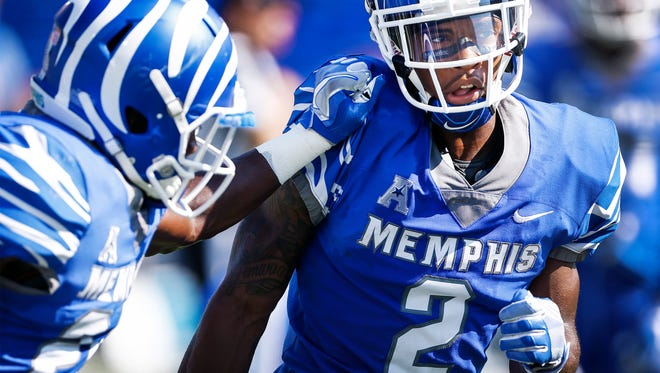 """University of Memphis defensive back Terrell """"TJ"""" Carter  warms up before taking on UCLA at The Liberty Bowl Memorial Stadium in Memphis, Tennessee., Friday, September 16, 2017."""