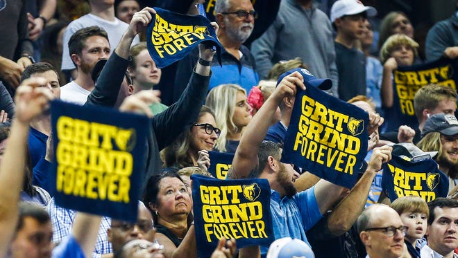 Memphis Grizzlies fans cheer during a break in action against the New Orleans Pelicans at the FedExForum in Memphis, Tenn., Wednesday, October 18, 2017.