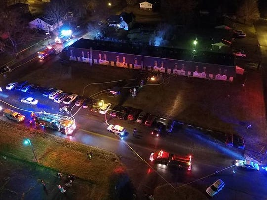Aerial view of the Dickson apartment complex on Spring Street where a fire was contained early Tuesday morning.