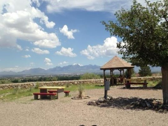 Guest gazebo at KOA Journey Campground overlooking