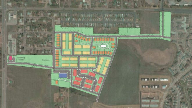 This map shows the planned footprint of an EcoDistrict development planned southeast of the intersection of College Avenue and Trilby Road in south Fort Collins.